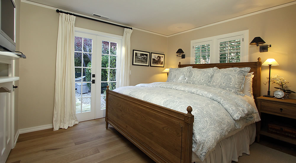 maid marian bedroom with french doors
